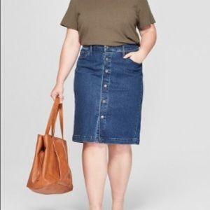 NWT Universal Thread button down denim jean skirt